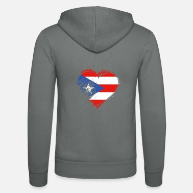 Grungy I Love Puerto Rico Heart Flag - Unisex Zip Hoodie