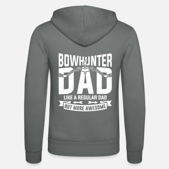 Father And Son Hoodies & Sweatshirts - Bowhunter Dad Bow and Arrow Hunting Father Gift - Unisex Zip Hoodie grey
