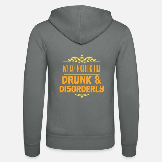 Drinking Hoodies & Sweatshirts - Funny party couple shirt Valentine's Day gift - Unisex Zip Hoodie grey