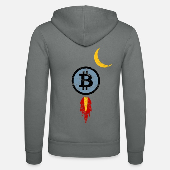 Bitcoin Pullover & Hoodies - Bitcoin Rakete, to the moon, Mond, crypto - Unisex Kapuzenjacke Grau