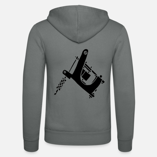Färg Tröjor & hoodies - Tattoomaschine Tattoo Machine Ink Outlaw Pain Fear - Zip hoodie unisex grå