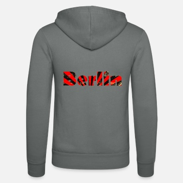 Berlin - font in the colors red and black - Unisex Zip Hoodie