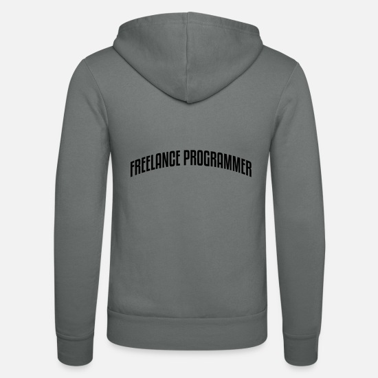 Stylish Hoodies & Sweatshirts - freelance programmer stylish arched text - Unisex Zip Hoodie grey