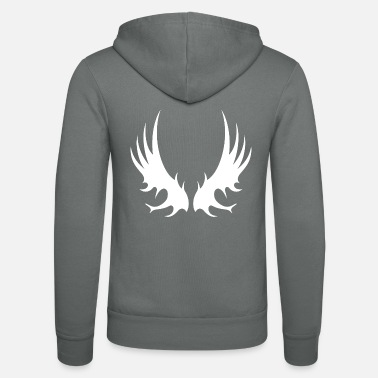 Angel Wing version 15 in white - Unisex Zip Hoodie