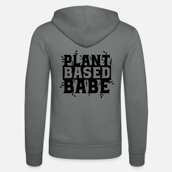 Vegetables Hoodies & Sweatshirts - Plant based babe vegan vegan veganism plants - Unisex Zip Hoodie grey