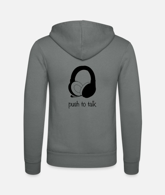 LAN-Party Pullover & Hoodies - Push to talk gaming Zocken headset - Unisex Kapuzenjacke Grau