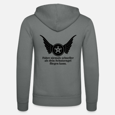 Angel Driving flies never travel faster than your - Unisex Zip Hoodie