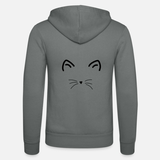 Love Hoodies & Sweatshirts - cat face - Unisex Zip Hoodie grey