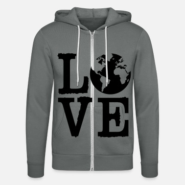 Globe Love Earth - Unisex Zip Hoodie