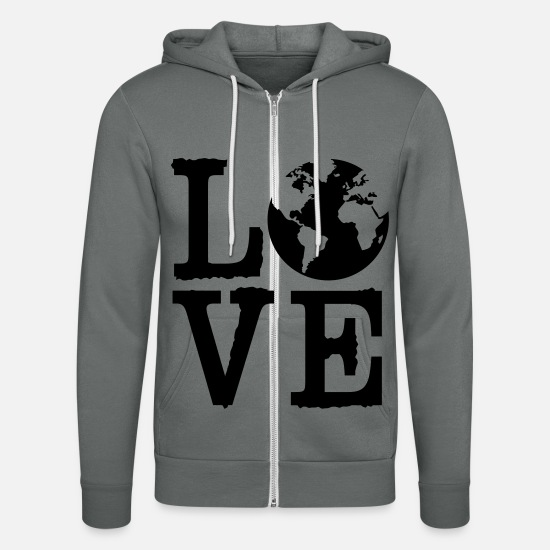 Continent Hoodies & Sweatshirts - Love Earth - Unisex Zip Hoodie grey