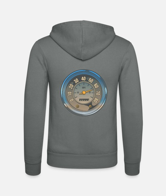 Car Hoodies & Sweatshirts - Motorcycle speedometer - Unisex Zip Hoodie grey