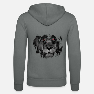 Red Lion in black and white with bright red eyes. - Unisex Zip Hoodie