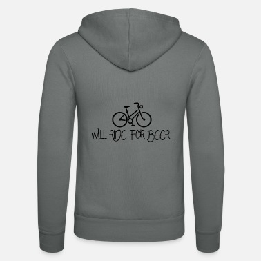 Mountain Will Ride for Beer Bicycle Bike Gift - Unisex Zip Hoodie