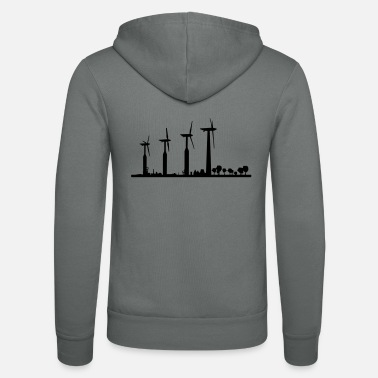 Wind Silhouette of wind turbines - Unisex Zip Hoodie
