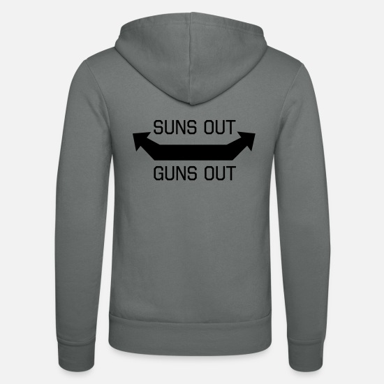 Weightlifting Hoodies & Sweatshirts - Suns Out Guns Out - Unisex Zip Hoodie grey