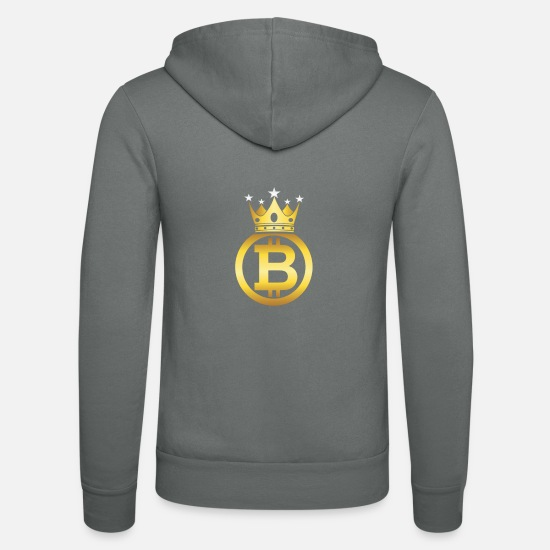 Bitcoin Hoodies & Sweatshirts - Bitcoin King - Unisex Zip Hoodie grey