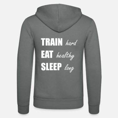 Muskel 009 train hard eat healthy weiss - Unisex Kapuzenjacke