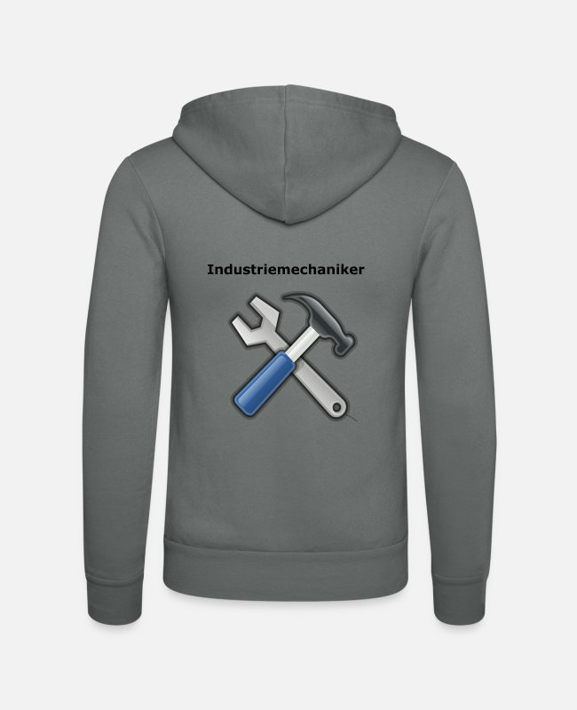 Hammer Hoodies & Sweatshirts - industrial mechanic - Unisex Zip Hoodie grey