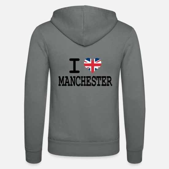 Gift Idea Hoodies & Sweatshirts - i love Manchester - Unisex Zip Hoodie grey