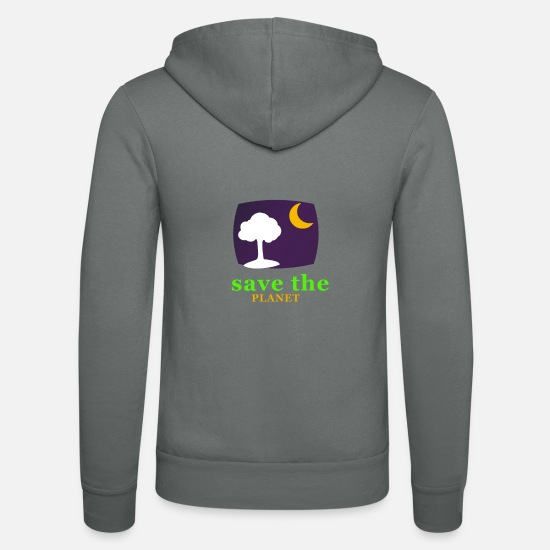 Planet Hoodies & Sweatshirts - save the planet - Unisex Zip Hoodie grey
