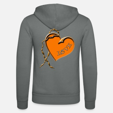 Heart Heart necklace orange-love - Unisex Zip Hoodie