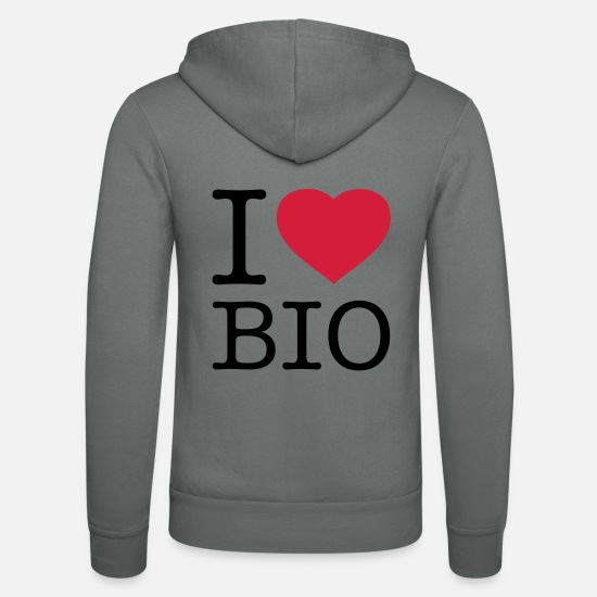 Eco Hoodies & Sweatshirts - I LOVE BIO - Unisex Zip Hoodie grey