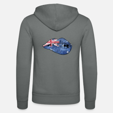 Kangaroo Australia mouth bites on lips flag - Unisex Zip Hoodie