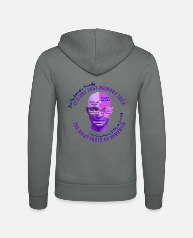 Vascular Dementia Hoodies & Sweatshirts - The Many Faces of Dementia - Unisex Zip Hoodie grey