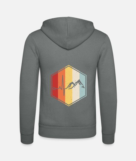 Sport Climbing Hoodies & Sweatshirts - Hiking mountaineer mountains heartbeat climbing - Unisex Zip Hoodie grey