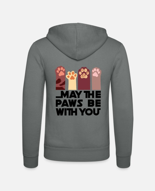 Cat Lady Hoodies & Sweatshirts - May the Paws be with you - Unisex Zip Hoodie grey