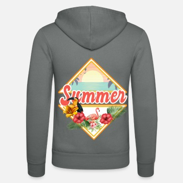 Summer Ts Summer, palm trees surfing, summer TS, gift, birds - Unisex Zip Hoodie