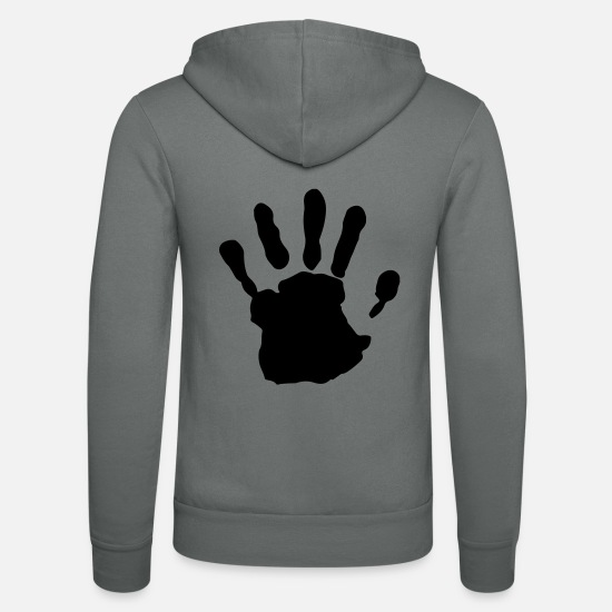 Cool Hoodies & Sweatshirts - handprint - Unisex Zip Hoodie grey
