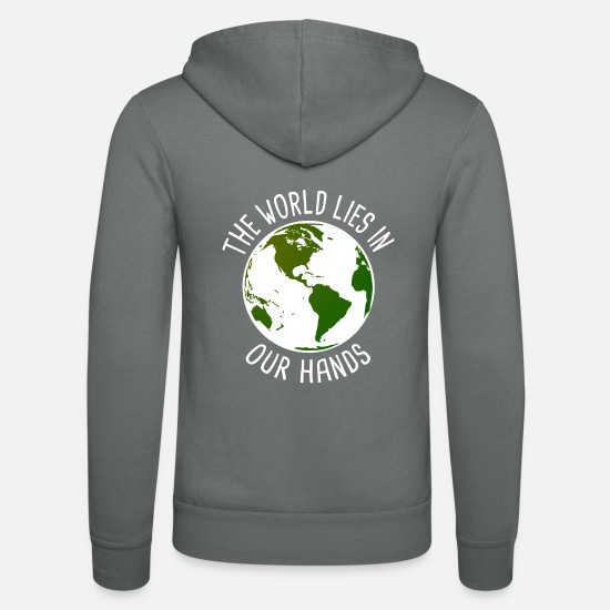 Gift Idea Hoodies & Sweatshirts - The world is in your hands Vegan gift - Unisex Zip Hoodie grey