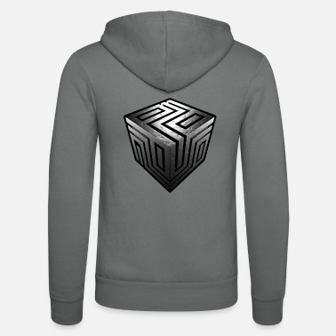 Metal cube with ornament, corrosion, black border - Unisex Hooded Jacket by Bella + Canvas