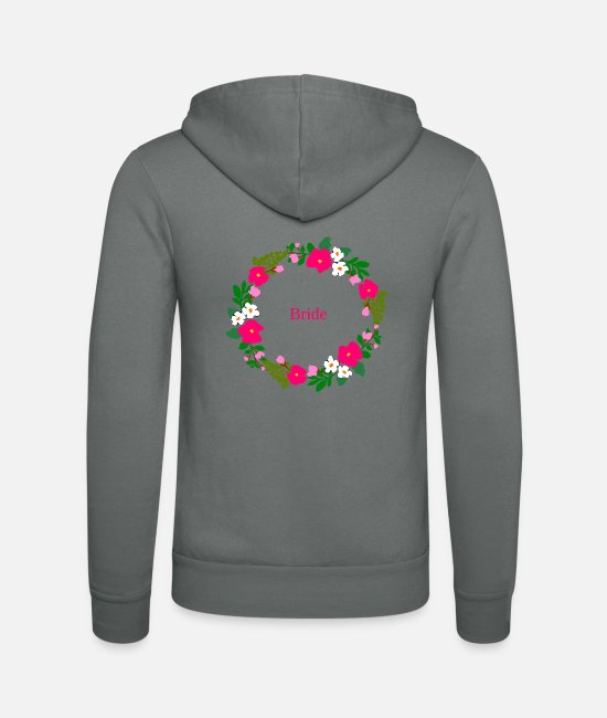Hen Hoodies & Sweatshirts - Flower wreath bride - Unisex Zip Hoodie grey