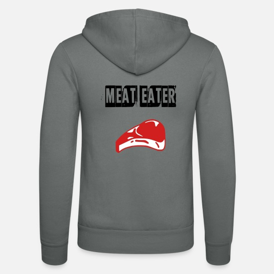 Meaty Hoodies & Sweatshirts - meat eater - Unisex Zip Hoodie grey