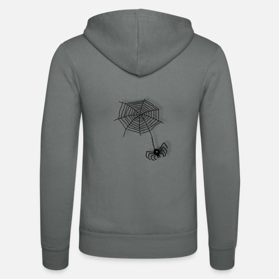 Cobweb Hoodies & Sweatshirts - Spider on the net - Unisex Zip Hoodie grey