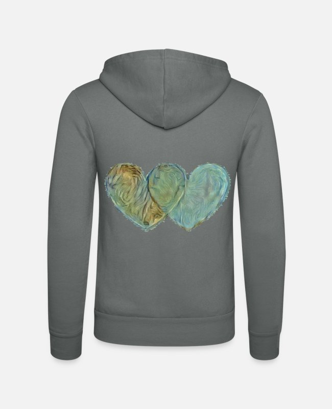 Heart Hoodies & Sweatshirts - Heart by heart - Unisex Zip Hoodie grey