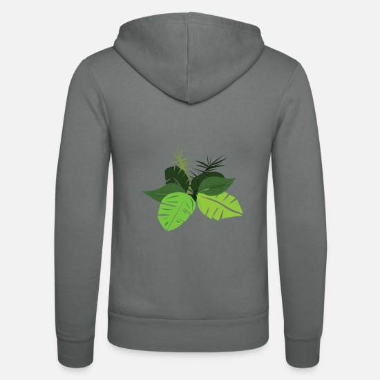 Birthday Hoodies & Sweatshirts - Beautiful leaves - original art nature lovers - Unisex Zip Hoodie grey