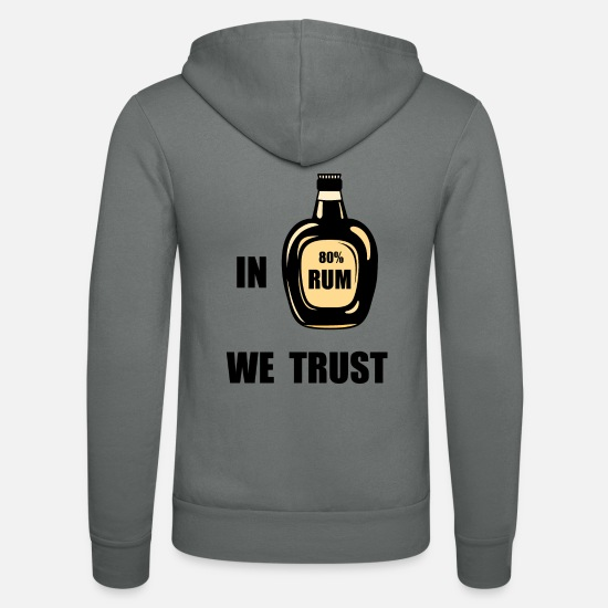 Rum Pullover & Hoodies - in rum we trust, 80% rum, bottle rum - Unisex Kapuzenjacke Grau