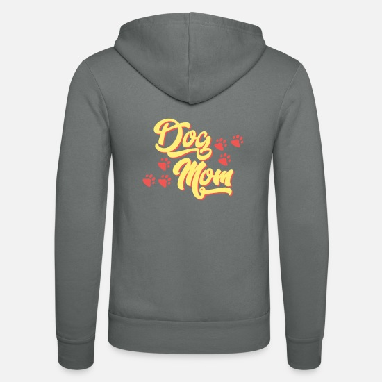 Love Hoodies & Sweatshirts - Dog Mom T-Shirt with paws - Unisex Zip Hoodie grey