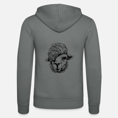 Hipster Alpaca - Lama with hipster hairstyle - Unisex Zip Hoodie