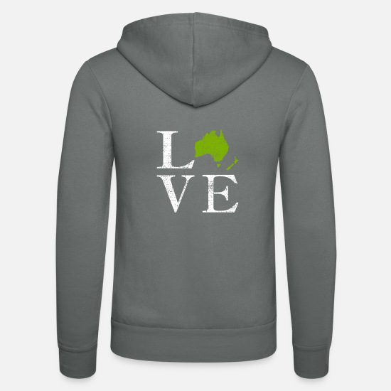 Continent Hoodies & Sweatshirts - Love continent Australia world travel gift - Unisex Zip Hoodie grey