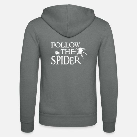 Spider Hoodies & Sweatshirts - Spider - Spiders - Spider Owner - Funny - Unisex Zip Hoodie grey