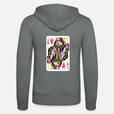 Queen Queen Card Game Heart Cool Card Queen Gift - Unisex Hooded Jacket by Bella + Canvas