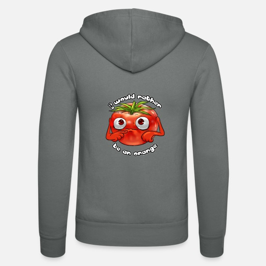 Animal Rights Pullover & Hoodies - Tomate Orange Spruch Veganerin Veggy Geschenk - Unisex Kapuzenjacke Grau
