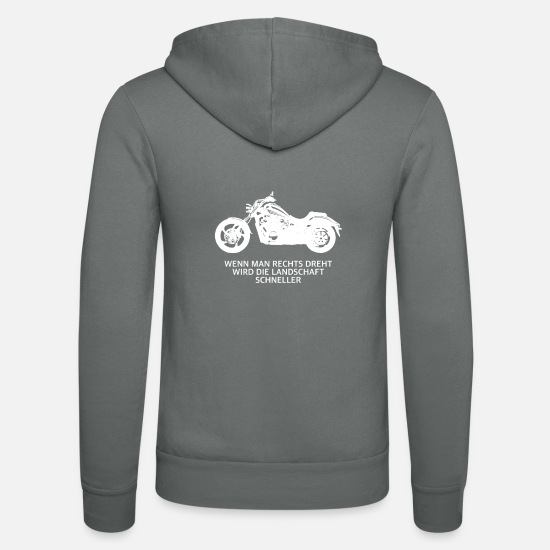 Motorcycle Hoodies & Sweatshirts - Motorcycle chopper witty saying memes - Unisex Zip Hoodie grey