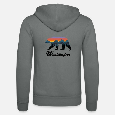 Hot Rod Washington Bear Colorful Mountains Proud Camping Vintage - Unisex Zip Hoodie
