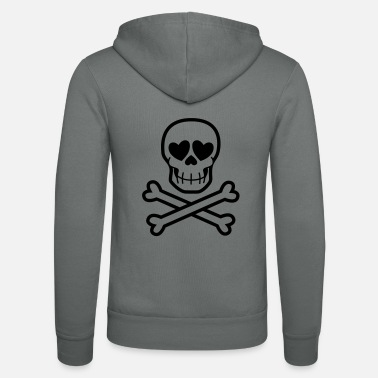 Eros & Thanatos Skull and Crossbones by Cheerful - Unisex Zip Hoodie