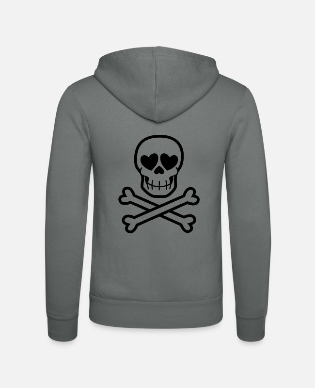 Skull And Crossbones Hoodies & Sweatshirts - Eros & Thanatos Skull and Crossbones by Cheerful - Unisex Zip Hoodie grey